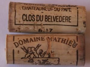 bouchon chato9 300x225 Châteauneuf blanc en monocépage : Clairette de Mathieu versus Grenache de Vaudieu