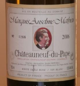mathieu 278x300 Châteauneuf blanc en monocépage : Clairette de Mathieu versus Grenache de Vaudieu