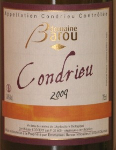 condrieu barou 233x300 Condrieu 2009 dE Barou et foie gras mi cuit au poivre